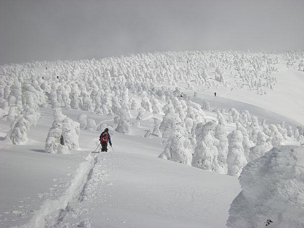 100221西大巓山頂より滑降