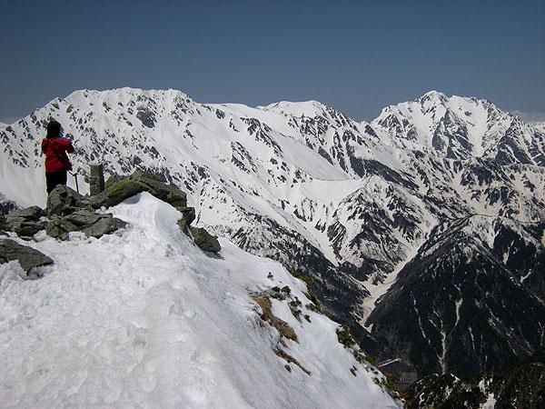 100516針ノ木岳山頂到着