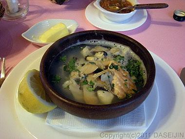110101プエルト・ナタレス、夕食魚貝のスープ