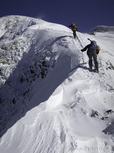 111126立山スキー・一ノ越直前の細い尾根