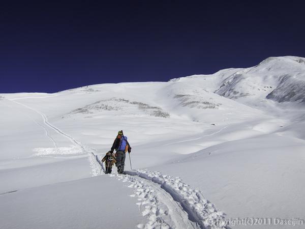 111126立山スキー・雷鳥坂を登る
