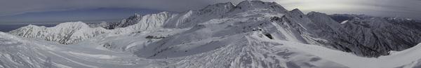 111127立山スキー・国見岳山頂からのパノラマ