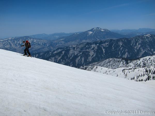 120429平ヶ岳・平ヶ岳の斜面を登る
