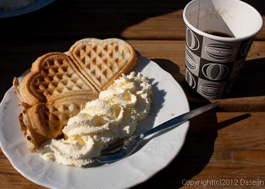 120807アイスランド、グリーンランドの旅・ヨークサゥルロゥン湖のカフェのワッフル